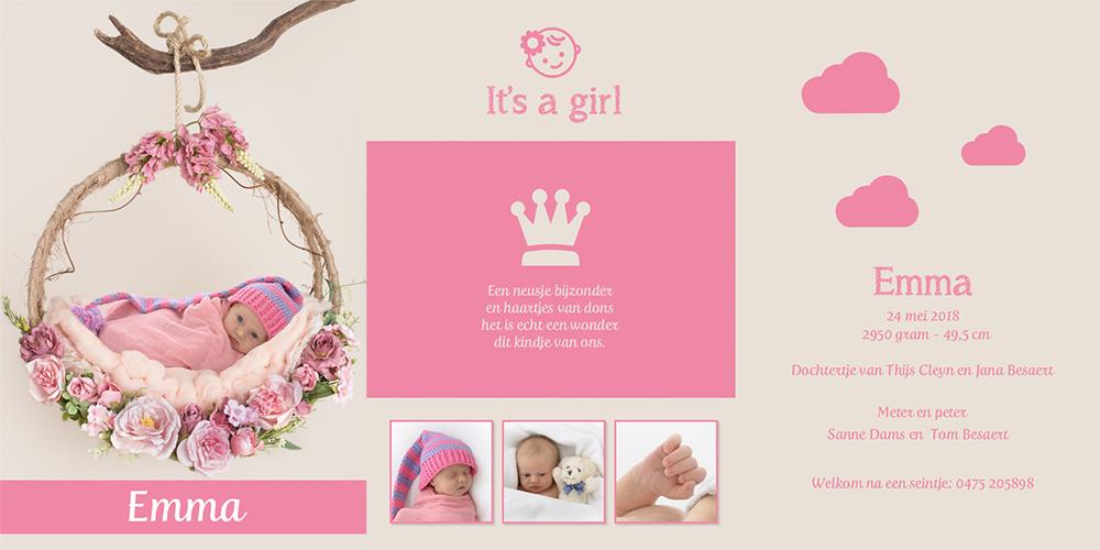 geboortekaartje meisje fotokaart geboortefoto